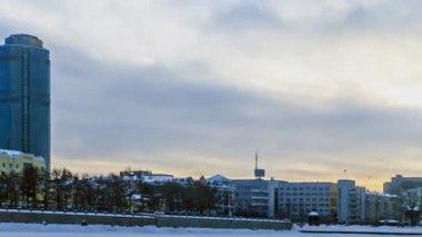 Embankment Yekaterinburg. Russia. — Stock Video