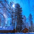 House on a moonlit night. Moon — Stockfoto