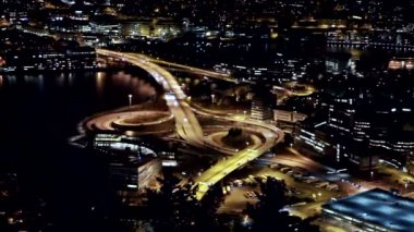 A view of the ring road. Night, Bergen, Norway — Stock Video
