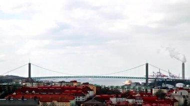 Road bridge over the river. Goteborg, Sweden — Stock Video