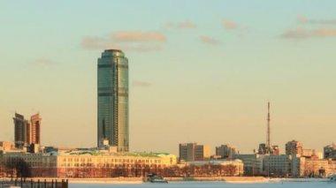 Rascacielos de la ciudad. rusia, ekaterimburgo — Vídeo de Stock