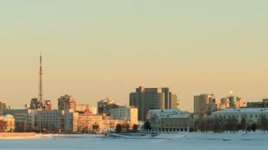 Panorama of the central waterfront. Russia, Yekaterinburg — Stock Video