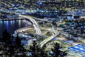 Car isolated at night. Bergen, Norway — Stock Photo