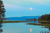 Moon reflected in the lake — Stock Photo