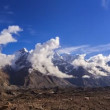 Stock Video: Clouds over glacier Inylchek. Kirgystan, central Tien Shan