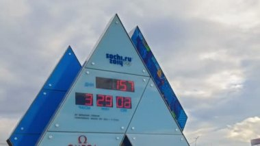 Sochi 2014 のオリンピック時計ゲーム。時間の経過 — ストックビデオ