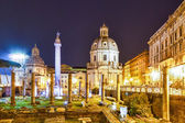 The Roman Forum at night. Rome, Italy — Stock Photo