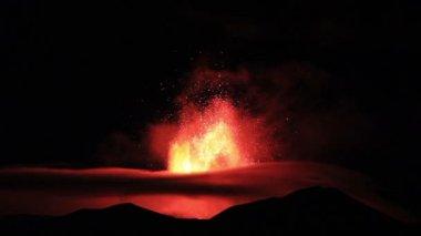 Etna Eruption at night. . — Stock Video
