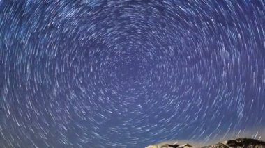 Volcano peak with stars — Stock Video