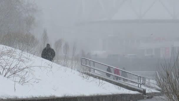 Menschen im Winterwetter — Vídeo de stock