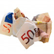Crumpled euro bill — Stock Photo