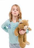 Mad girl in pajamas with teddy bear — Foto de Stock