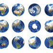 Stock Photo: Earth globe from different angles showing all continents
