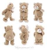 Isolated teddy bear in different positions or emotions — Stock Photo