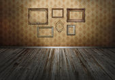 Wall with art frames — Stock Photo