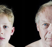 Old man and boy comparison — Stock Photo