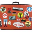 Old suitcase with stickers — Stock Photo #26243215