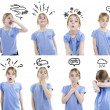 Girl showing different emotions — Stock Photo #28852857