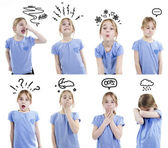 Girl showing different emotions — Stock Photo