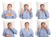 男人穿着睡衣躺在床上用不同的表达形式 — 图库照片