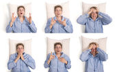 Man in pajamas in bed with different expressions — Stock Photo