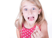 First loose tooth — Stock Photo