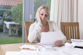 Woman worried about debts — Stock Photo