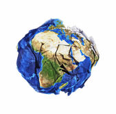 Crumbled paper planet earth — Stock Photo