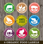 Organic food labels vector — Stock Vector