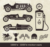 Vector images of old racing cars — Stock Vector