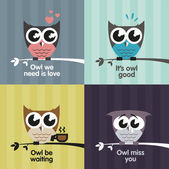 Owl emotions — Stock Vector