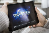 Watching movie on tablet pc — Stock Photo