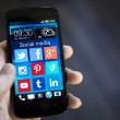 Stock Photo: Social mediicons on smartphone screen