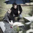 Father and daughter at graveyard — Stock Photo #41904293