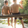 Two boys enjoying summer at the lake — Stock Photo #51463053