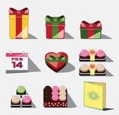 Red gift box and chocolate, calendar,cake, strawberry. Valentine Day — Stockvector