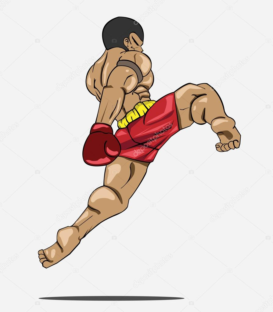 Muay thai kick drawing