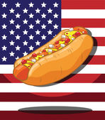 Hot dog. America Flag background — Stock Vector