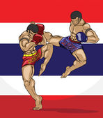 Muay thai with thai flag background — Stockvector