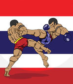Muay thai with thai flag background — Vecteur