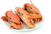 Cooked crabs on plate — Stock Photo