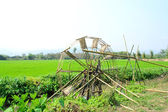 Bamboo water wheel — Stockfoto