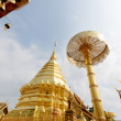 Pagoda of Doisuthep temple in Chian Mai Thailand - Stock Photo