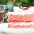 Strawberry Cake with tea — Stock Photo