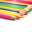 Colored pencils on white background — Stock Photo