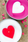 Valentines Hearts Candles on wood — Stock Photo