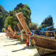 Long tail boat on tropical beach , Krabi, Thailand — Stock Photo
