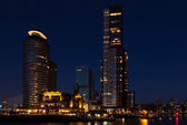 Skyline rotterdam harbor at dusk — Stock Photo