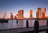 Skyline of rotterdam at sunset — Stock Photo