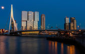 Skyline of rotterdam after sunset — Stock Photo